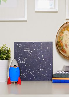 constellation art - DIY wall art for a kid's room