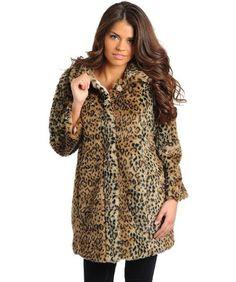 G2 Chic Women's Leopard Animal Print Faux Fur Oversized Winter Coat