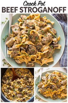 The BEST recipe for Slow Cooker Beef Stroganoff from scratch! Healthy beef stroganoff without canned soup. EASY, creamy crockpot recipe with steak, mushrooms, and Greek yogurt instead of sour cream. #wellplated #beefstroganoff #healthy #slowcooker #crockpot via @wellplated
