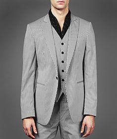 John Varvatos Gray Austin Single Button Peak Lapel Jacket