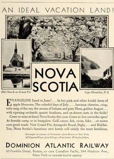 1931 Ad Dominion Atlantic Railway Nova Scotia Old Church Grand Pre Cape Blomidon Cape Breton http://CaperMemories.Com