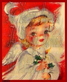 Christmas Angel Quilt Block VIntage Christmas Card print by QUILTFABRICBLOCKS, $10.99  vintagemermaidsfabricblocks.com