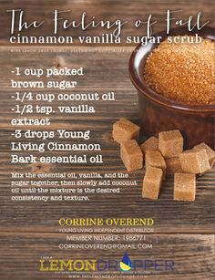 Young Living Essential Oil Cinnamon Bark essential oil scrub.