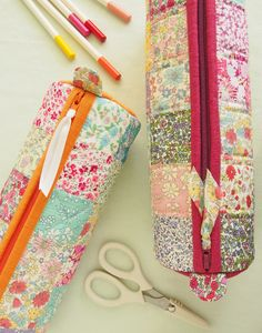 Round Pencil Cases in Autumn colours - Pretty By Hand