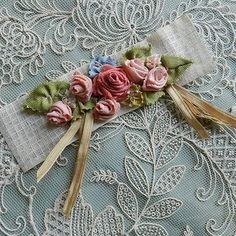 Antique Ombre Ribbonwork Piece | eBay