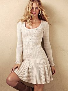 Pointelle Scoopneck Sweaterdress