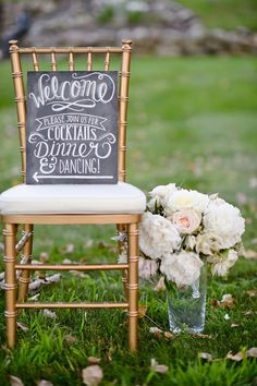 Sweet welcome sign on a gold chiavari chair. Photography by amandadumouchellephotography.com/  Read more - http://www.stylemepretty.com/2013/08/22/pinckney-michigan-wedding-from-amanda-dumouchelle-take-a-seat/