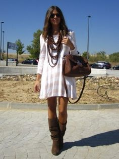 cute boho chic, fashion, casual fall, the dress, fall looks, fall outfits, brown boots, chunky necklaces, fall dresses