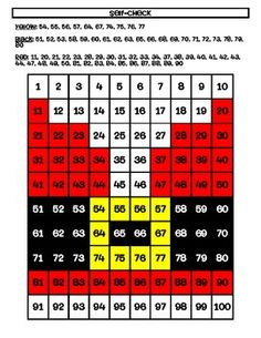 Here's a hundred board number recognition and coloring activity that results in a Santa suit image.