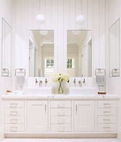 The Best Bright White Spaces// white country bathroom, shaker style doors