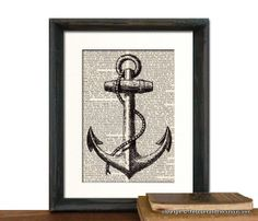 Anchor Art Print - Nautical Decor - Picture Gift Present Home Office Decor - MATTED. $14.00, via Etsy.
