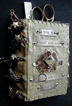What I Hope to Be - handmade book by Nina Bagley, slips inside antique metal purse #handmade_books #book_arts #handmade #art #crafts #mixed_media #bindings