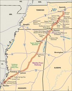 natchez-trace-parkway is a really cool route to take. Google pics and see for yourself.