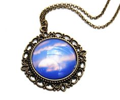 Full Moon pendant necklace glass and antique brass by NewCreatioNZ, $26.00