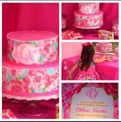 This Lilly Pulitzer First Impressions Birthday Cake with a monogram is so cool!