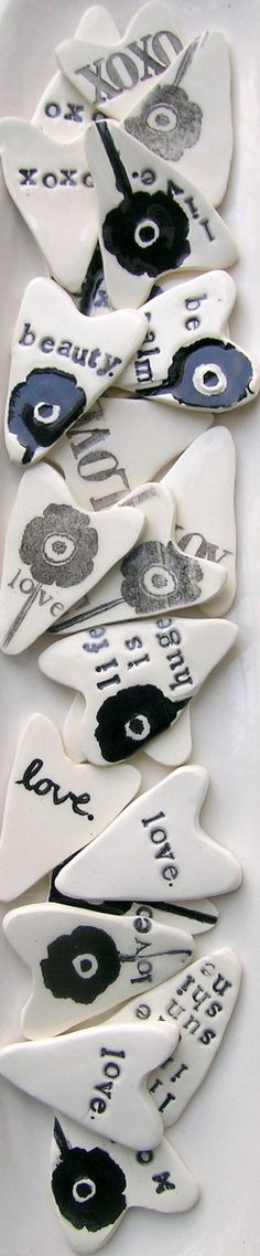 air clay black and white heart poetry pieces