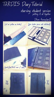 "#DoctorWho River Song's TARDIS Diary DIY Tutorial! Version: Starving Student. From Frenzyland. Materials: 5 ½"" by 7 ¾"" (half inch larger than prop)  Scrap leather from Tandy's Leather  Or thick mounting board/dense card 'borrowed' from your school's art supply room.  Scrap sheet of printing paper  One which to print or sketch out layout  A rough template is provided."