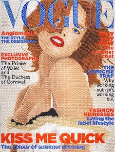 hand-stitched Vogue covers by artist Inge Jacobsen