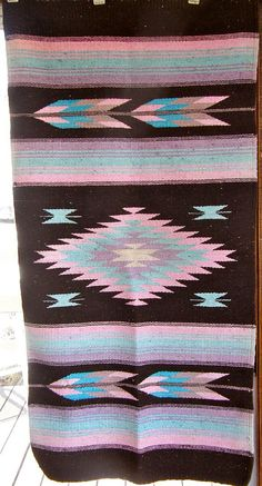 NAVAJO Indian RUG or BLANKET New Mexico Vivid Brown by OnceUpnTym