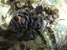 Portion of the hair wreath hair wreath, victorian hairwork