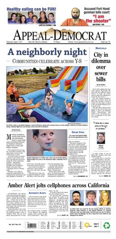 Appeal-Democrat front page for Wednesday, August 7, 2013.