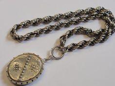 large antique sterling silver locket