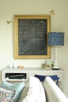 gold frame chalkboard