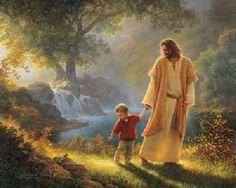 Jesus nature walk with little friend. (Greg Olson--Artist)
