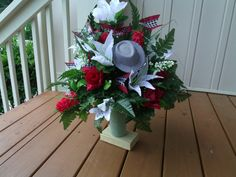 Alabama Red and White Cemetery  Flower by CrazyboutDeco on Etsy, $34.99