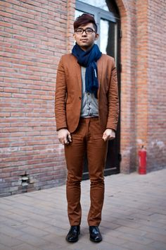 Making me rethink suit colors. Why can't I have a burnt orange suit? #fashion