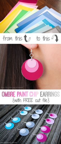 Ombre Paint Chip Earrings with FREE Silhouette cut file!  Such an easy, inexpensive gift idea via thinkingcloset.com