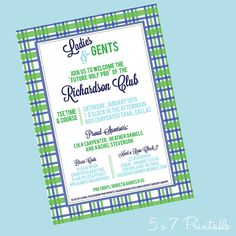 Printable Baby Shower Invitation - Daddy's Little Caddy  - Blue & Green Argyle Plaid Invite - Preppy Golf Baby Shower - DIY Golf Shower on Etsy, $18.00