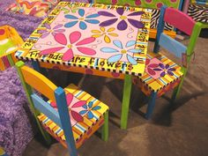 Hand Painted Child Table & 2 Chairs - Pretty cool....not sure I could pull this off....