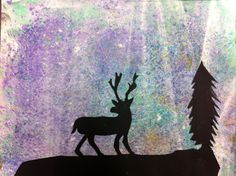 chalk pastel-dyed paper with black paper silhouettes - grade 5/6