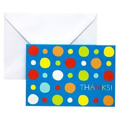 Thank Yous. Blue with Dots Thank You Card with Envelope 24-ct.