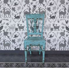 Otomi Allover Damask Wall Stencil | Royal Design Studio
