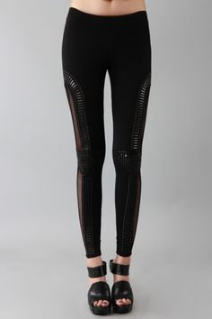 Cut out and beaded leggings.