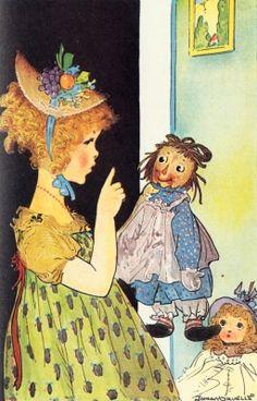 Girl with Raggety Ann doll.