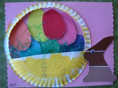 Our Easter Baskets.  Paper plates, paint samples and construction paper.  Hip, hip hop.