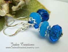 Love these blues together..NEW earrings by Jades Creations Handcrafted Beaded Jewelry