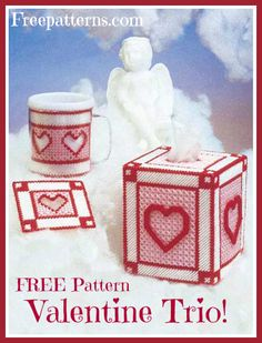 Free Valentine Trio Plastic Canvas Pattern -- Download this free plastic canvas tissue box cover pattern and accessory set from Freepatterns.com.