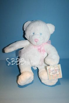 "Baby Ganz Plush My First Teddy Bear 11"" White Pink Heart Bow NEW NWT Stuffed Toy"