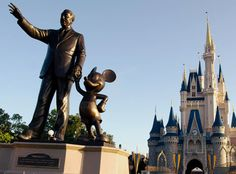 Walt and Mickey Statue infront of the Castle