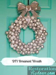 DIY Ornament Wreath - Restoration Redoux http://www.restorationredoux.com/?p=7135 christmas wreaths, holiday wreaths, dollar tree, restor redoux, diy ornaments, ornament wreath, common ground, christmas ornaments, diy christmas