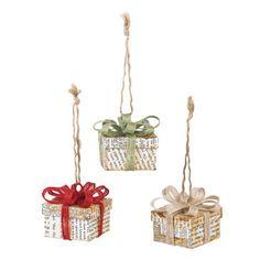 DIY Cedar Lodge Book Page Box Ornaments