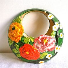 Vintage Vase Wall Pocket Flowers Roses Vase by dottirosestudio