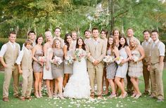 my dream southern wedding I love the mix and match Bridesmaid style! The tan and khaki tones look great on everyone! #wedding  3. bridesmaid style