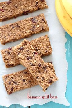 Banana Split Bars – heart-healthy power bars made with all natural ingredients such as quinoa, rolled oats, dried cherries, nuts and honey plus antioxidants from the cinnamon and chocolate – and they taste good too! #cleaneating #glutenfree #vegetarian #weightwatchers 4pp #snack