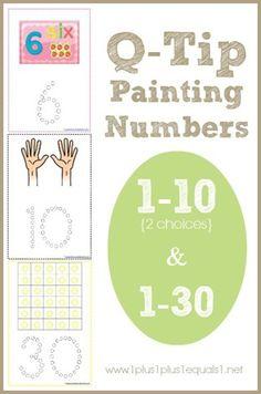 FREE Q-Tip Painting Numbers Printables