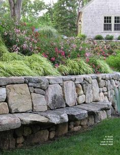 Stone retaining wall w/ bench